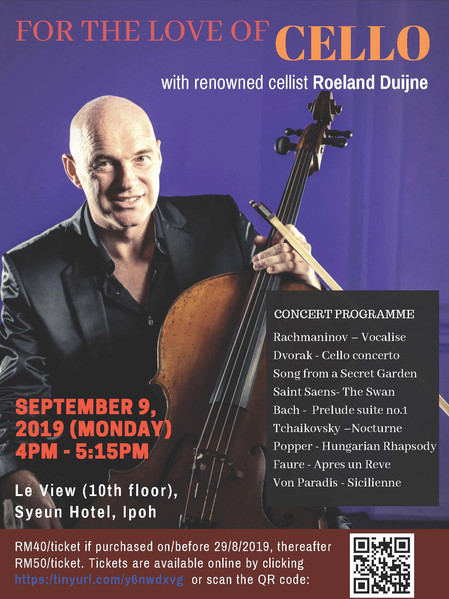 """""""For the Love of Cello"""" Cello Recital by Roeland Duijne"""