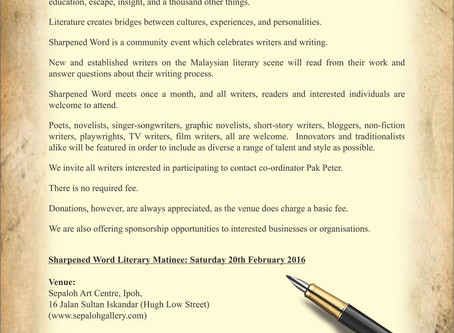 Sharpened Word Literary Matinee is back this February 2016