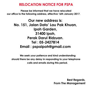RELOCATION NOTICE FOR PSPA OFFICE