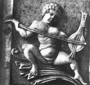 Earliest known image of a Byzantine lyra. Carving made in ivory casket, circa. 900 - 1100 C.E.