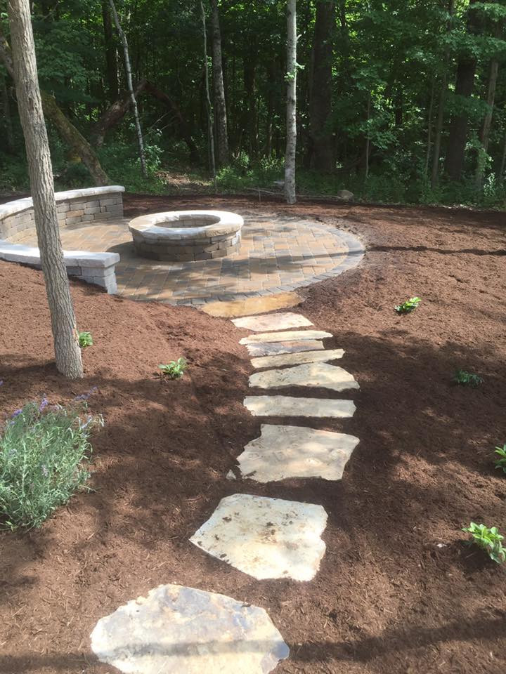 AVon Job with firepit, bench stepping st