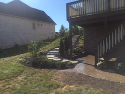 Full View of Stair Stones & Landscaping Work with paver sidewalk