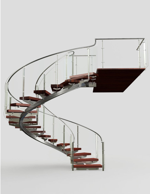 Render of railing systems spiral stairca
