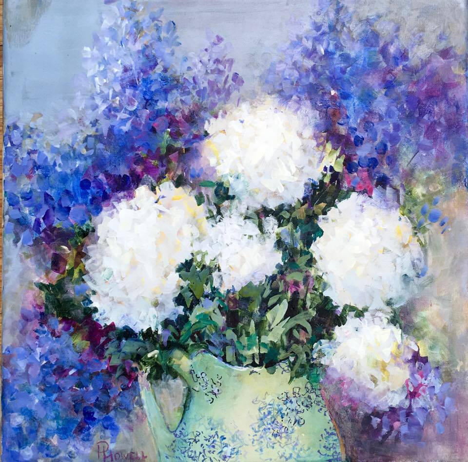 Delphiniums and white hydreangeas acrylic on cavas