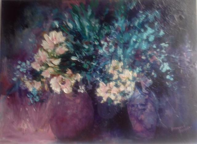 Purple Vase White Daisies