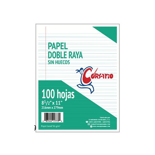 Papel Bond Doble Raya sin huecos 8.5 x 11, 100 hojas