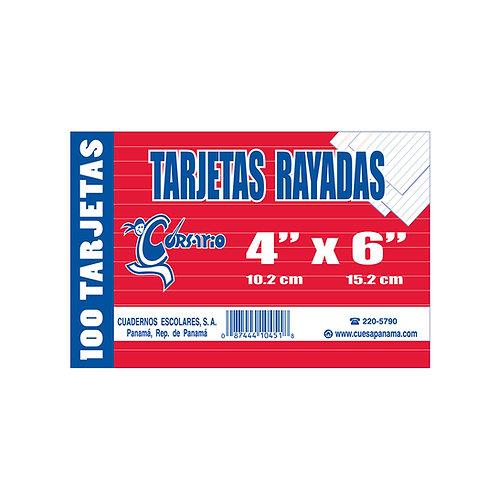"""Tarjetas Rayadas 4x6"""" blanca"""