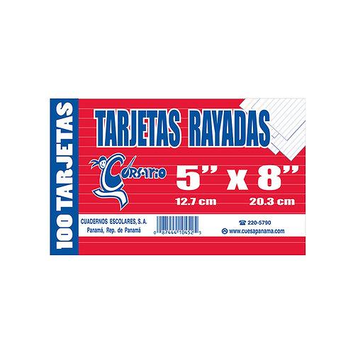 """Tarjetas Rayadas 5x8"""" blanca"""