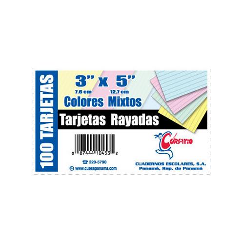 """Tarjetas Rayadas 3x5"""" de colores"""