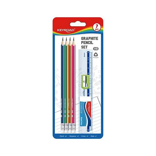 PROMO: 4 Lápices de grafito + borrador + sacapuntas + Regla