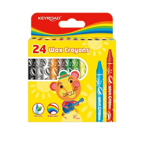 Crayones de cera,  8 x 90 mm,  Caja x 24 colores