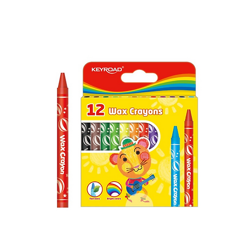 Crayones de cera. 8 x 90 mm. Caja de 12 colores
