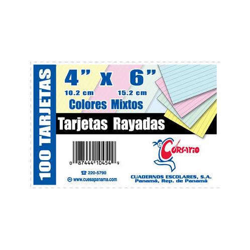 """Tarjetas Rayadas 4x6"""" de colores"""