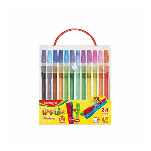 Marcadores escolars Capfix, Estuche rigido con asa x 24 colores