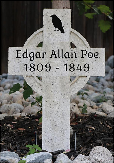 Edgar Allan Poe Lightweight Concrete Gravestone/Tombstone