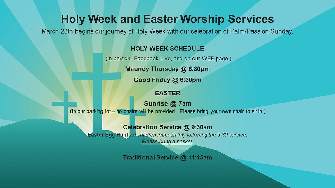 Holy Week and Easter Worship Services202