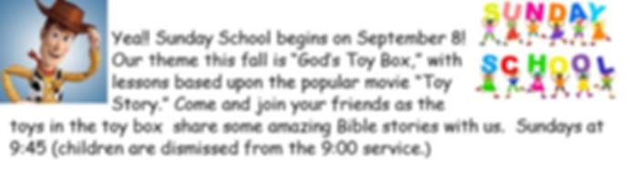 Sunday School Begins September 8, 2019 at 9:45am