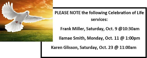 Upcoming Celebration of Life Services, October 2021