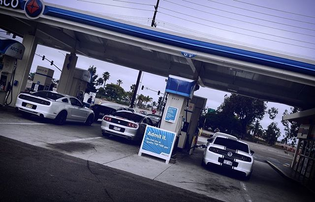 The squad filling up the gas station on the way to our photo op cruise in Ocean Beach, San Diego__Th