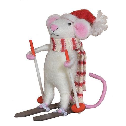 Felt Skier Mouse Ornament