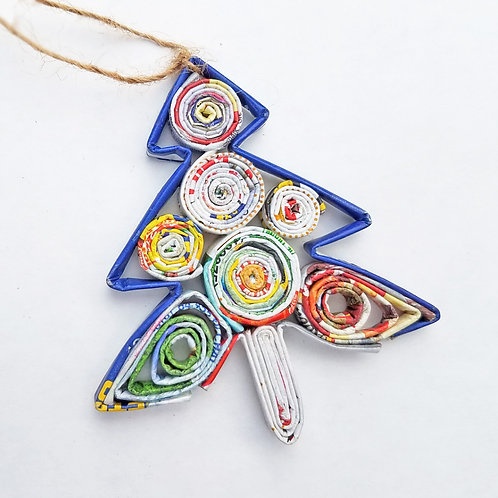 Recycled Paper Christmas Tree Ornament
