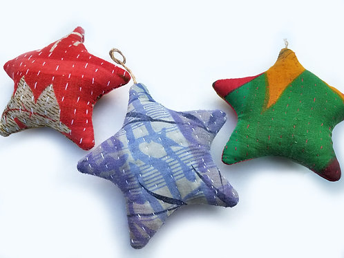Recycled Kantha Star Ornaments
