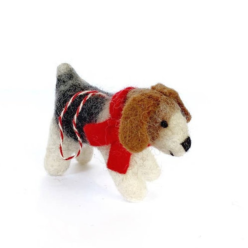 Dog with Red Scarf Tufted Wool Ornament