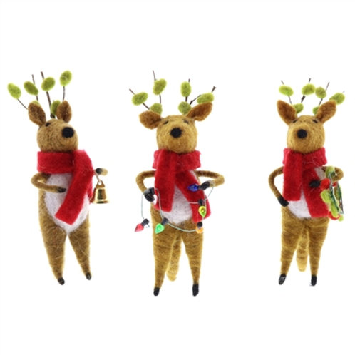 Felted Reindeer Ornaments.