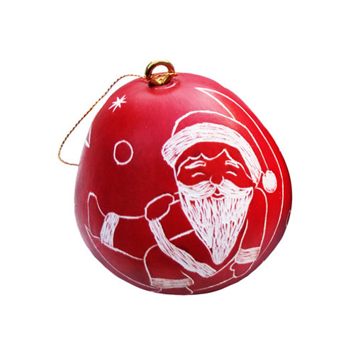 Santa Mini Gourd Ornament
