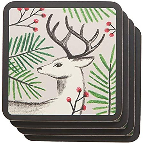 Noble Deer cork backed coaster set of 4
