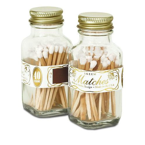 Vintage White Mini Match Bottle