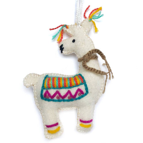 Colorful Llama Embroidered Wool Ornament