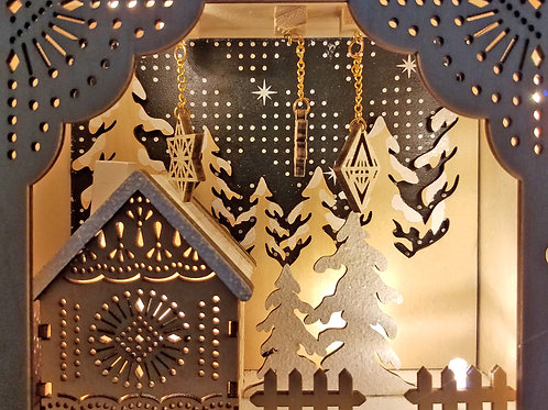 Laser Cut Wood LED Light  Book -Winter Scene