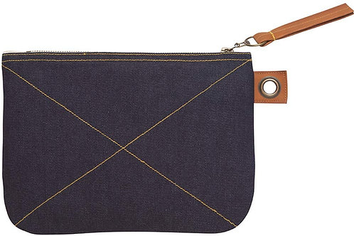 Blue Denim Large Zip Pouch