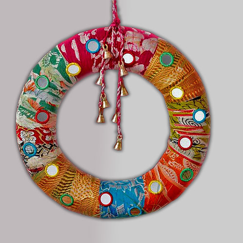Sari Patchwork Embroidered Wreath. Fair trade. Made in India
