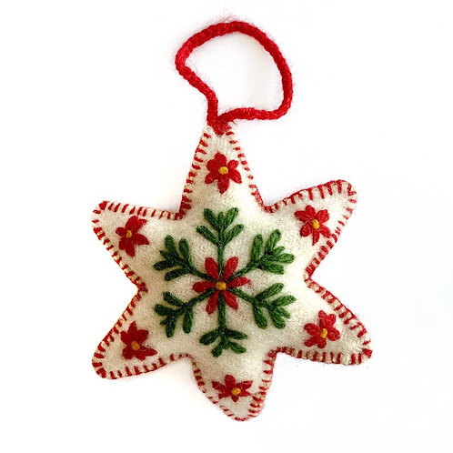 White Six Pointed Star Embroidered Wool Ornament