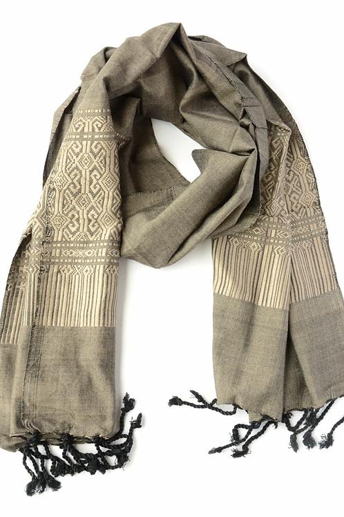 Tuyen Patterned Scarf - Grey. fair trade. handmade in Vietnam
