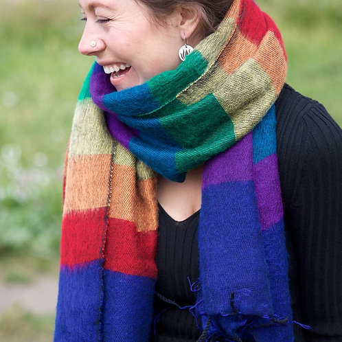 Rainbow Brushed Woven Shawl- made in Nepal
