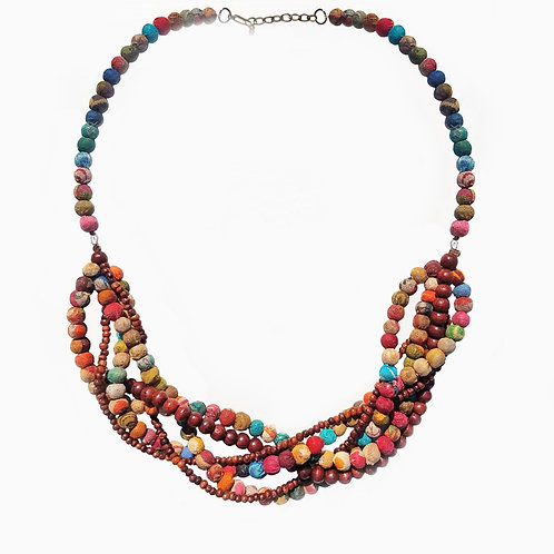 Recycled Kantha & Wooden Bead Necklace