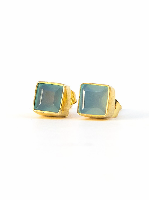 Crystal Waters Studs - Chalcedony. fair trade. handmade in India