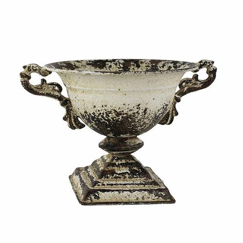 Distressed metal urn
