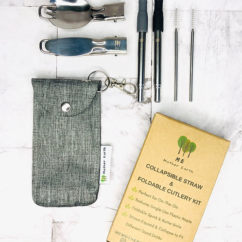 Me Mother Earth Collapsible Straw and Cutlery Set