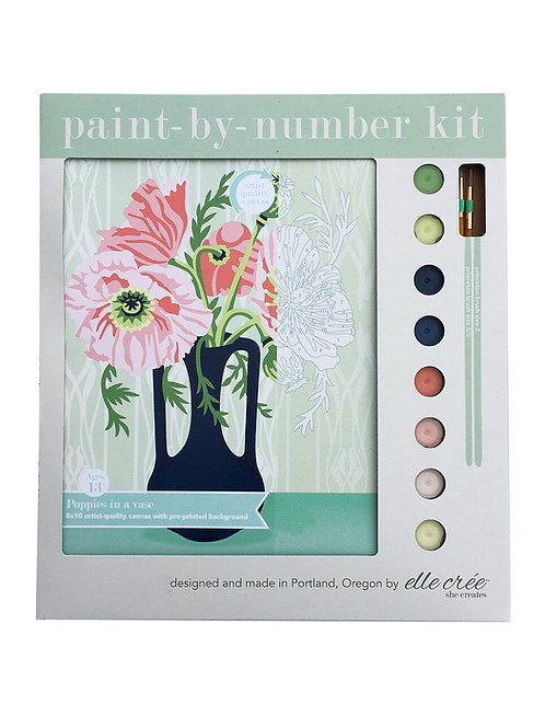 8x10 canvas paint by numbers kit | poppies in a vase
