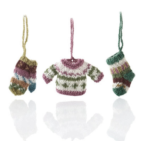 All Bundled Up Knit Ornament Set. Fair Trade, Made in Nepal