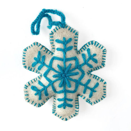 Embroidered Wool Snowflake Ornament