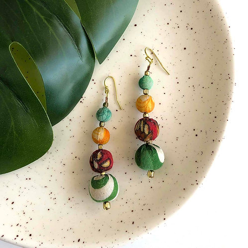 Recycled Kantha Bead  Earrings