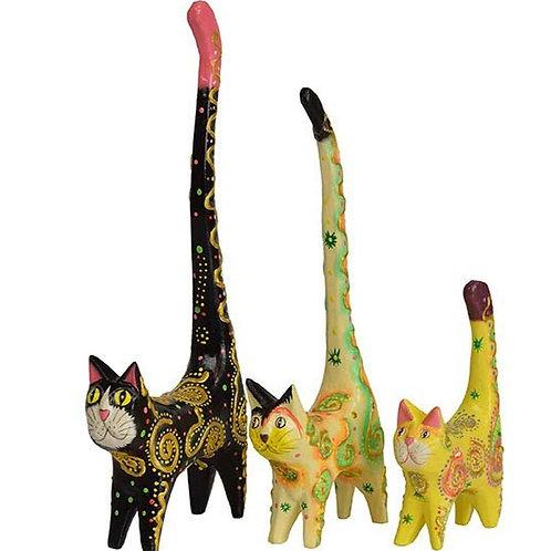 Papier-Mache' Party Cats Set of 3. Fairtrade. Made inBali