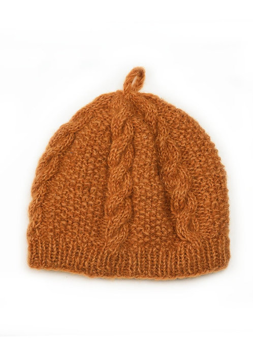 cable knit beanie handmade in Nepal. Available in 3 colors