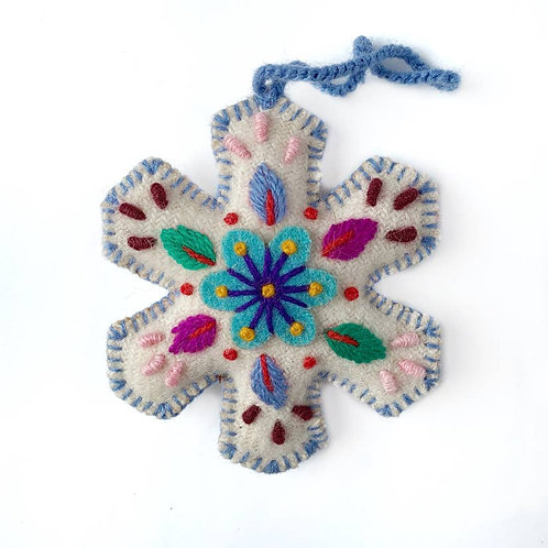 Embroidered Wool Snowflake Ornament. Handmade. Fair Trade.
