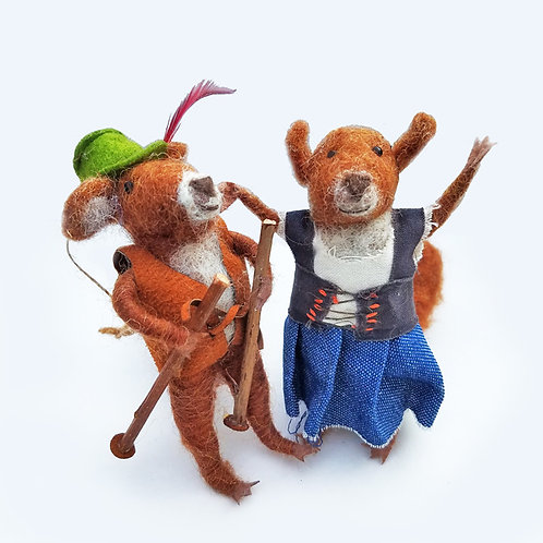 Bavarian Squirrel Couple Ornaments